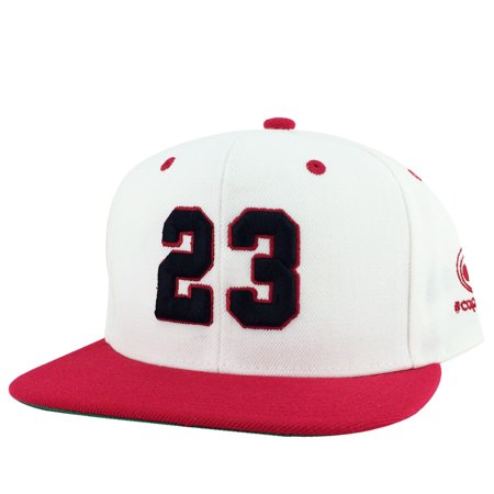 CapRobot Player Jersey Number #23 2Tone Snapback Hat Cap x Air Jordan OG White Black Red (Jordan Hat)