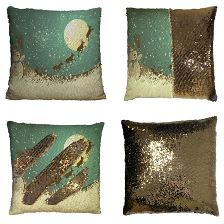 GCKG Christmas Theme Pillowcase, Winter Holiday Merry Christmas Happy Snowman and Reindeer Reversible Mermaid Sequin Pillow Case Home Decor Cushion Cover 16x16 inches](Winter Holiday Themes)