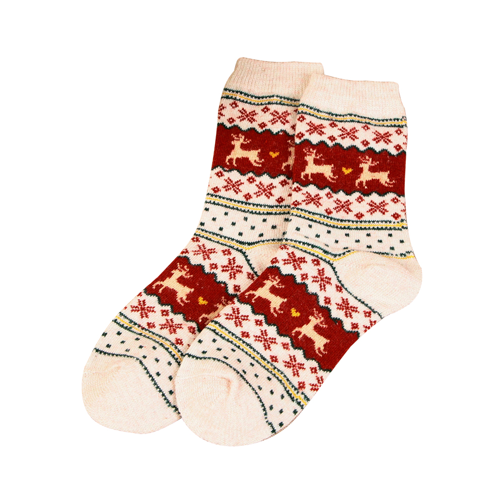 Women Winter Thicken Comfortable Xmas Gift Socks Wool Warm Snowflake Deer Socks