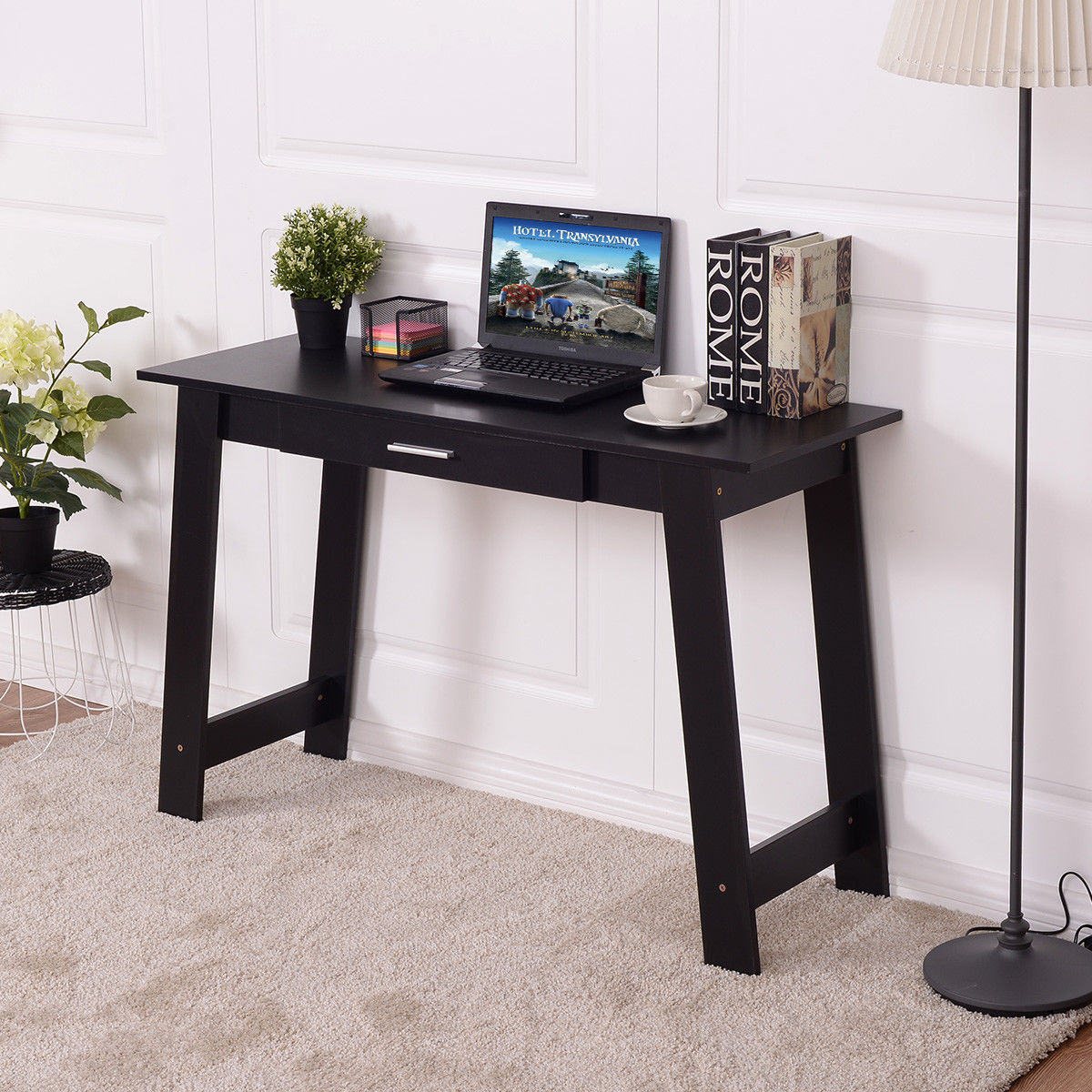 Costway Beginnings Writing Table Writing Desk Workstation W/Drawer Home Office Furniture