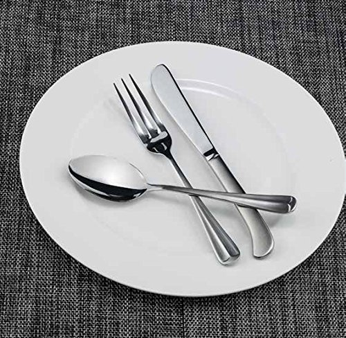 Winco Flute 3 Dozen Flatware Set, Extra Heavy 18-0 Stainless Steel Classic Old-Fashioned Dinner Spoons (Dozen Pack), Dinner Forks (Dozen Pack) and Dinner Knives (Dozen Pack), 36-Piece Set
