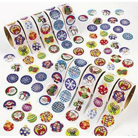 Christmas Holiday Scrap Booking Sticker Assortment - 10 Rolls, 100 Stickers