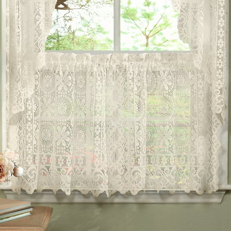 Hopewell Heavy Floral Lace Kitchen Window Curtain 24 x 58 Tier (Lace Door Curtains)