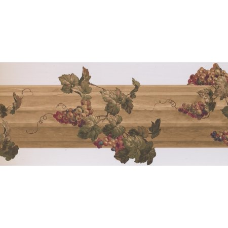 """Red Beige Grapes on Vine on Wooden Fence Kitchen Wallpaper Border Retro Design, Roll 15' x 10"""" - image 1 of 3"""