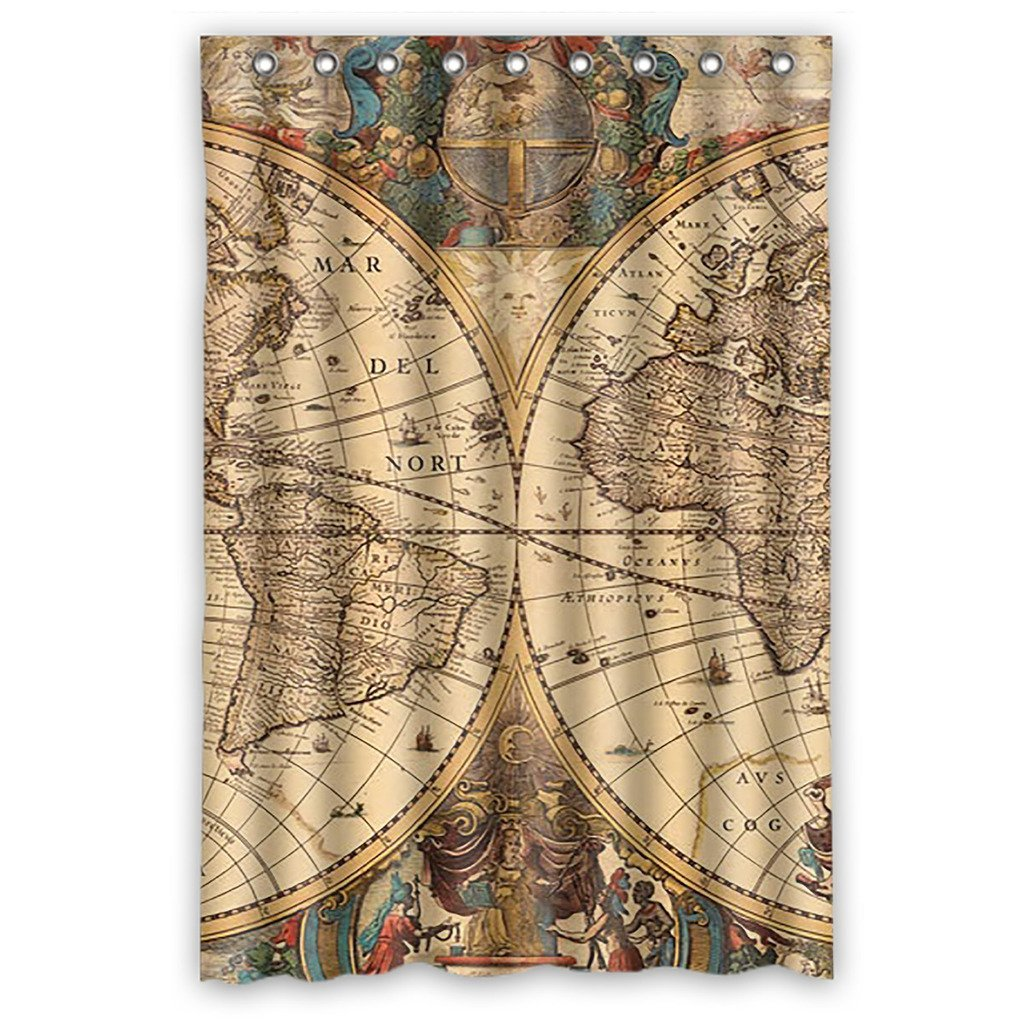 Gckg Vintage Retro World Map Bathroom Shower Curtain Shower Rings Included Polyester Waterproof Shower Curtain 36x72 Inches