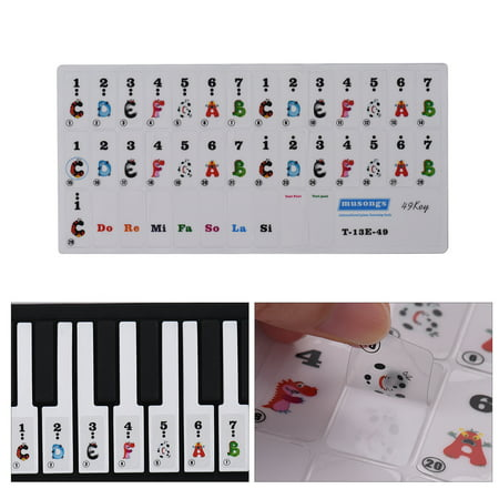 49-key Piano Keyboard Colorful Cartoon Music Note Stickers Removable Transparent for Kids Beginners Piano Practice (Piano Practice Music)