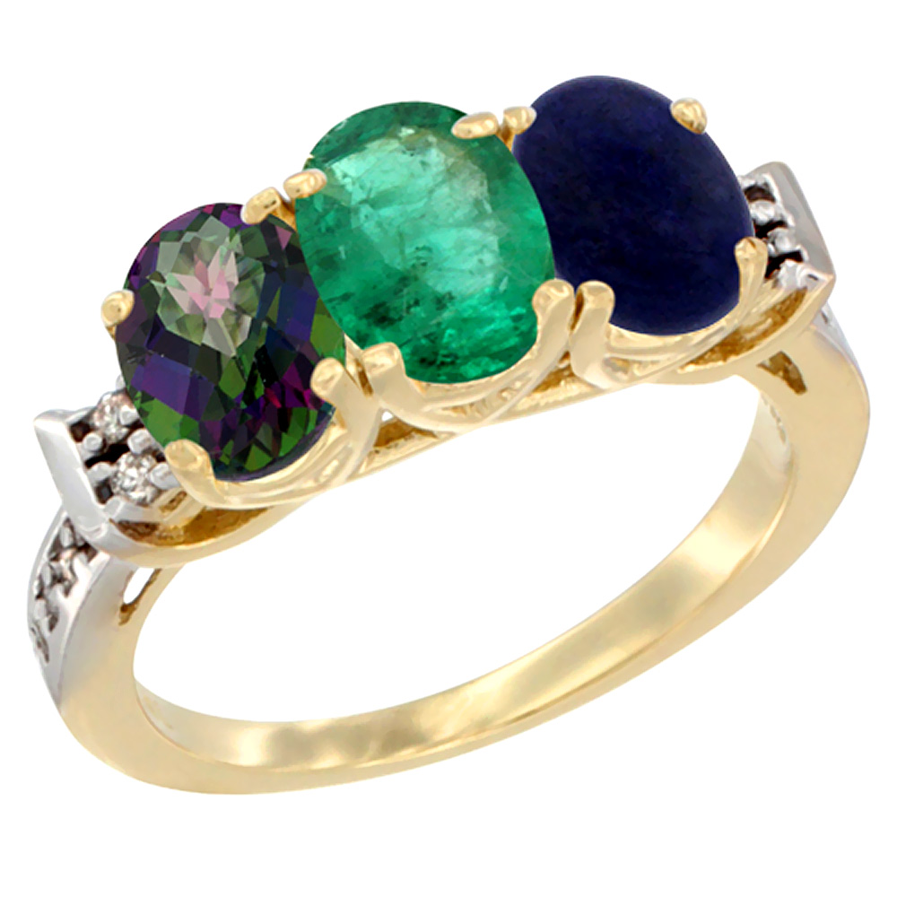 10K Yellow Gold Natural Mystic Topaz, Emerald & Lapis Ring 3-Stone Oval 7x5 mm Diamond Accent, sizes 5 10 by WorldJewels