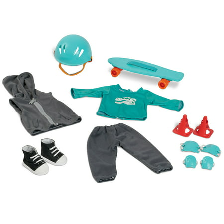 My Life As 10-Piece Skateboard Play Set, Teal & Gray, Designed for 18
