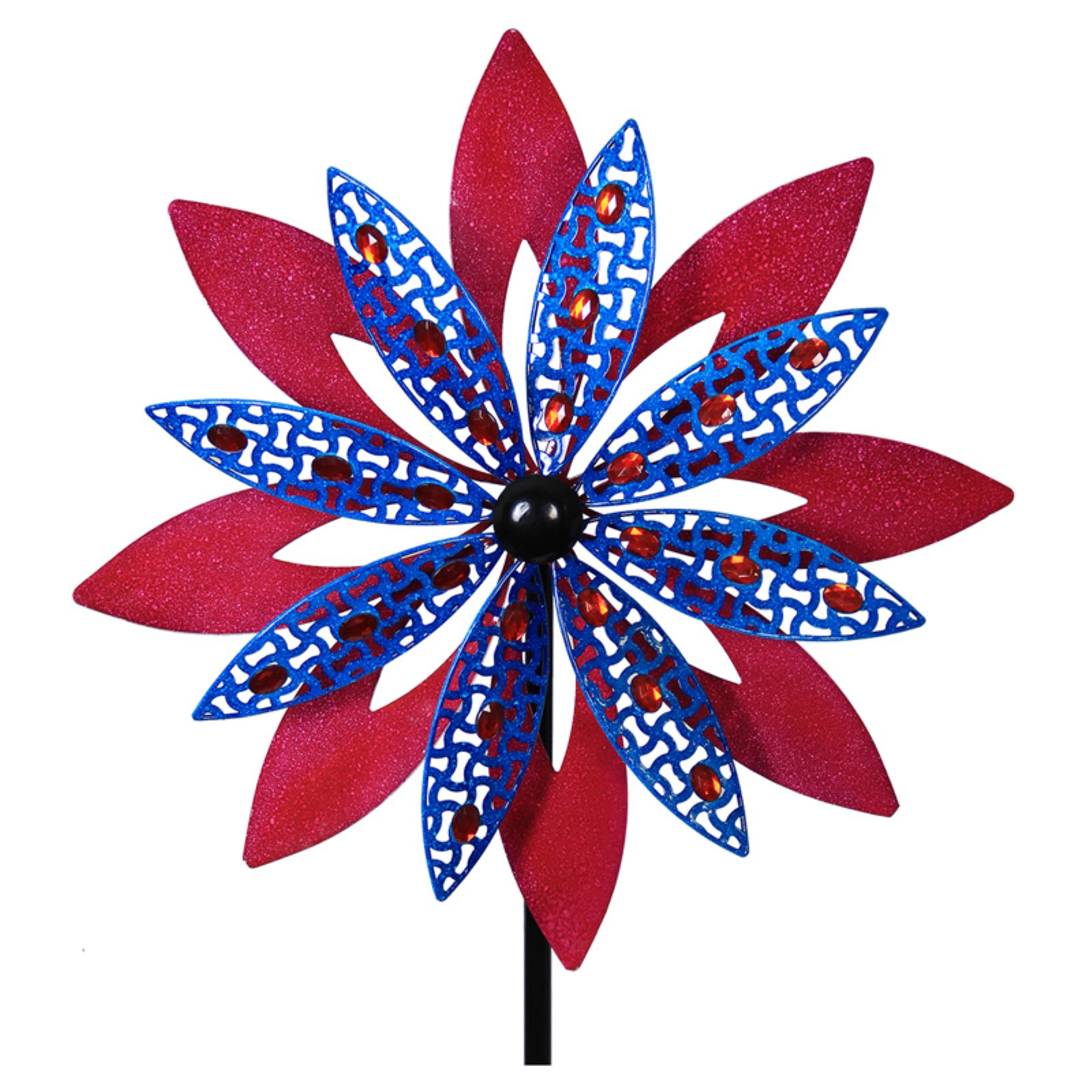 Exhart Giant Kinetic Red and Blue Garden Stake