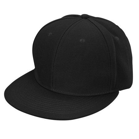Flat Bill Baseball - DALIX Flat Billed Baseball Cap Adjustable Hat Size M L XL in Black
