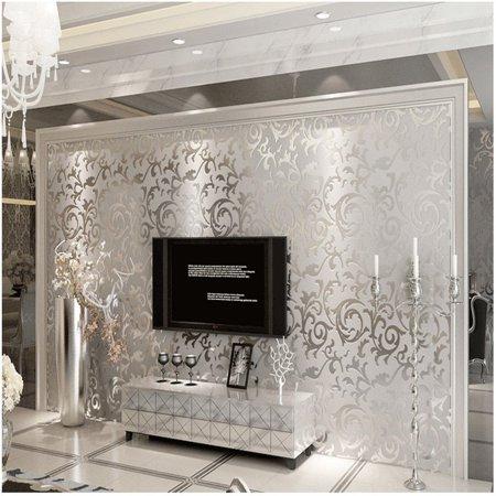 Meigar 3D 10m Sliver Non-woven Floral Victorian Damask Embossed Textured Wallpaper Home Living Room Bedroom Indoor Decor TV Background,32.8ftx1.7ft ()