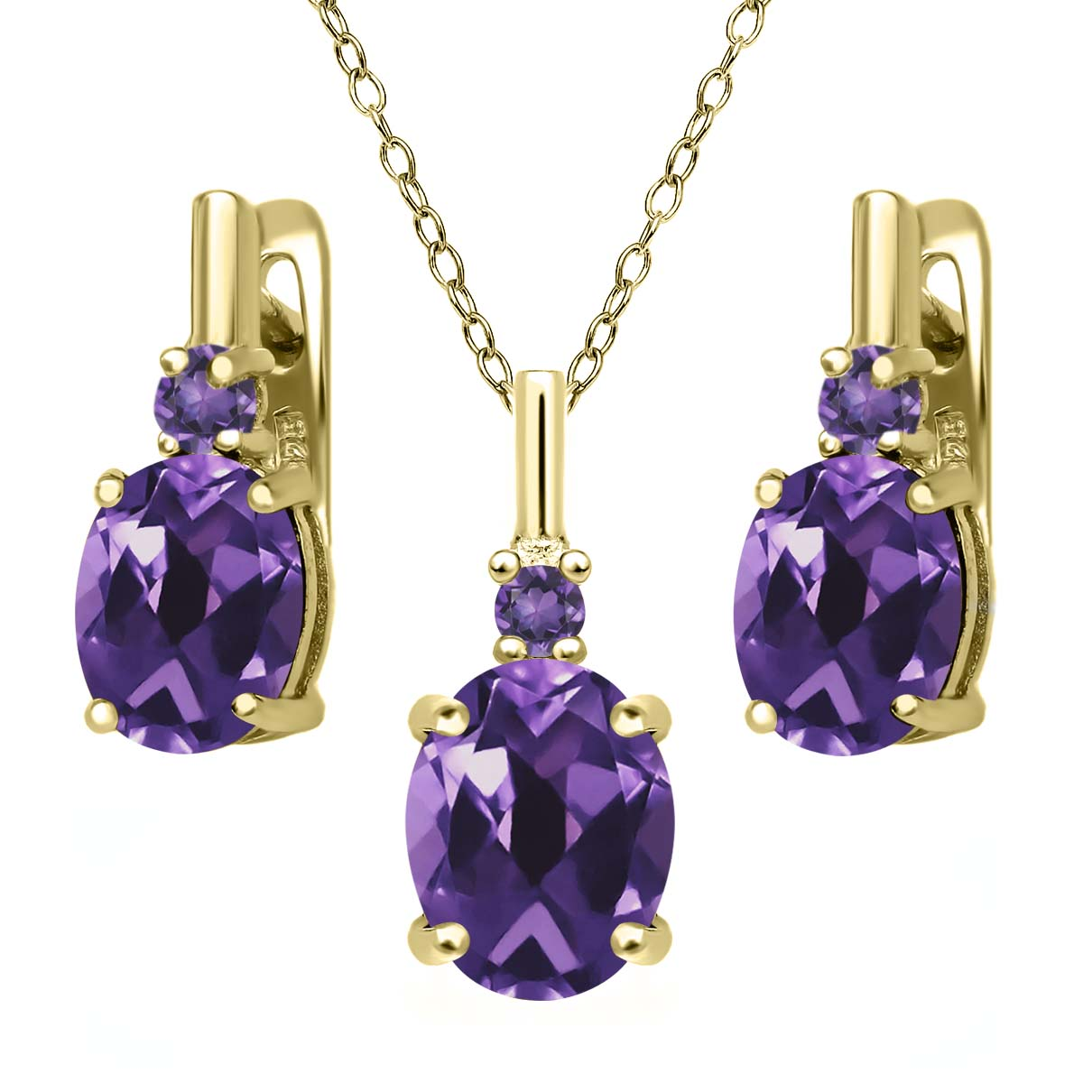 5.04 Ct Oval Purple Amethyst 18K Yellow Gold Plated Silver Pendant Earrings Set by