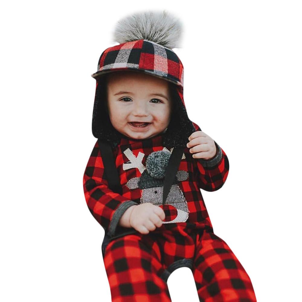 b5509f55ea53 Mosunx Christmas Newborn Infant Baby Girl Boy Plaid Deer Romper Jumpsuit  Clothes - Walmart.com