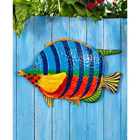 Fish Shape Tropical Metal Wall Art Sculpture Beach Theme Home Decor Accent (Home Decor Themes)