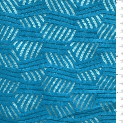 Azul Blue Stripe Stretch Lace, Fabric By the Yard
