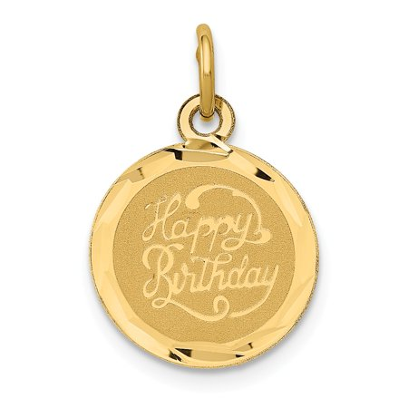 14k Happy Birthday Disc Charm in 14k Yellow Gold