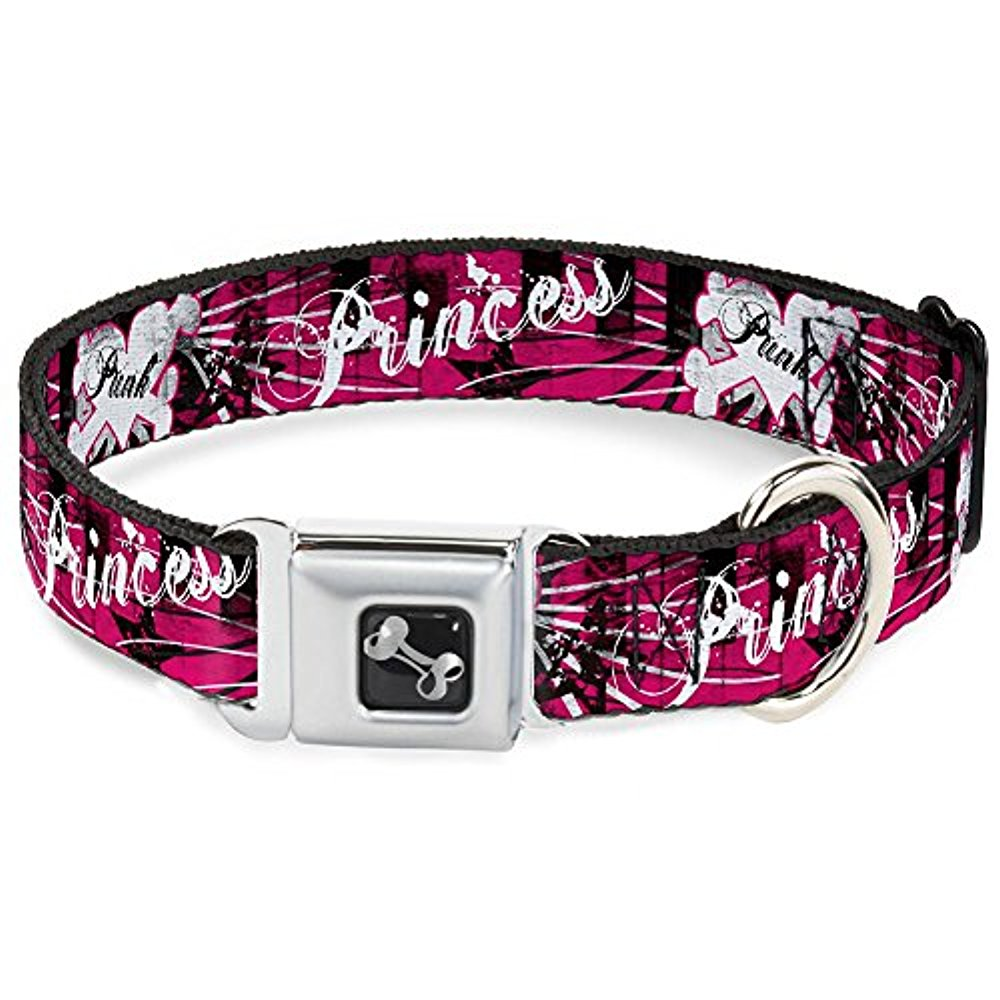 Buckle-Down Seatbelt Buckle Dog Collar - Punk Princess Heart & Cross Bones w Splatter Black White