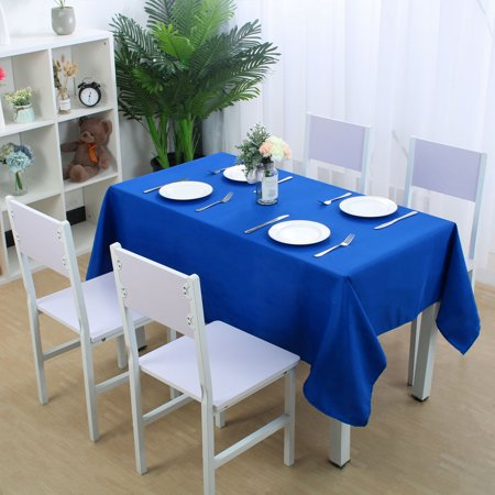 """Polyester Tablecloth Rectangle 55""""x63"""" Royal Blue Floral Printed Water Resistant - image 2 de 7"""