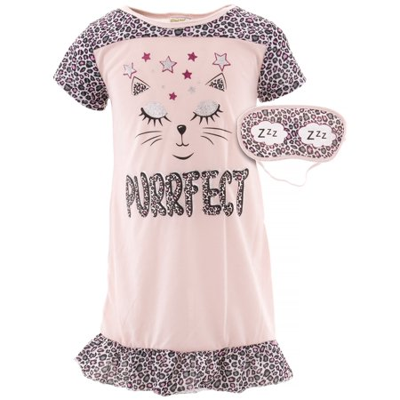 Cat Nightgown (Sweet N Sassy Girls Cat Pink Nightgown )