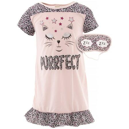 Pink Nightgown Girls (Sweet N Sassy Girls Cat Pink)