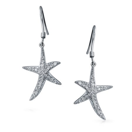 Nautical Ocean Tropical Beach Cubic Zirconia Pave CZ Starfish Drop Dangle Earrings For Women 925 Sterling Silver - image 3 de 4