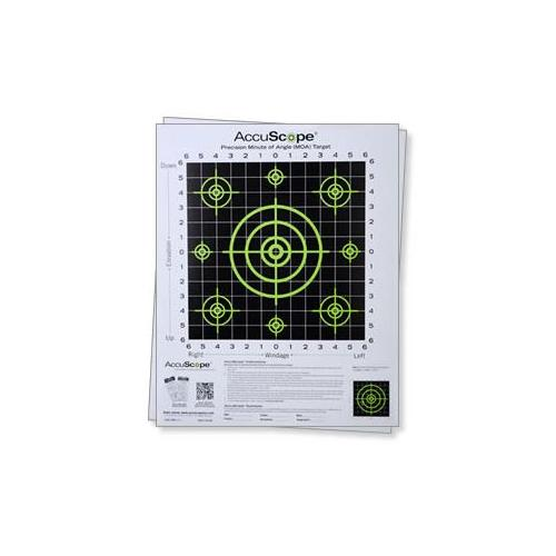 Image of AccuScope Paper Targets 10 pack of Targets, Green/Black, Small