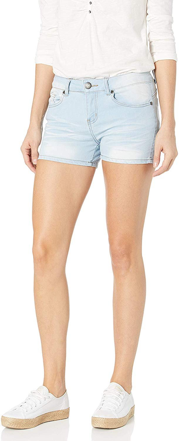 Cg Jeans Cover Girl Jeans Women S Denim Shorts Mid Rise Blue Washes With Stretch Size 7 8 Baby Blue 1 5 Inseam Walmart Com Walmart Com