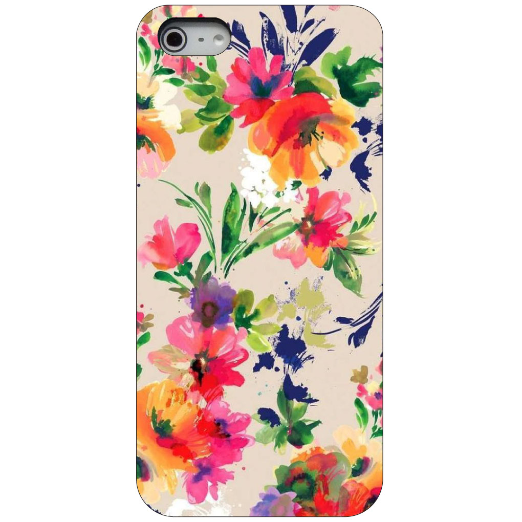 CUSTOM Black Hard Plastic Snap-On Case for Apple iPhone 5 / 5S / SE - Pink Purple Floral Flowers