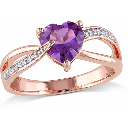 1-1 7 Carat T.G.W. Amethyst and Diamond Accent 10kt Rose Gold Heart Ring by Generic