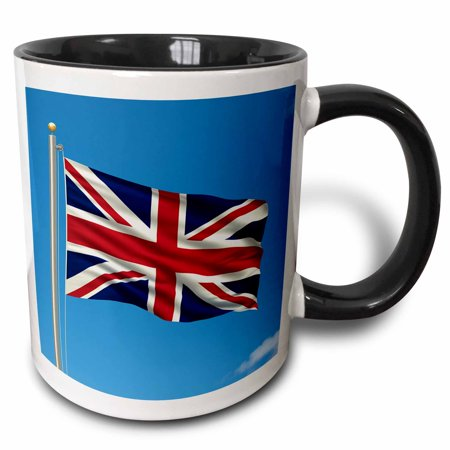 3dRose Flag of the United Kingdom on a flag pole with blue sky UK Great Britain British, Two Tone Black Mug, 11oz (Hero Ski Poles)