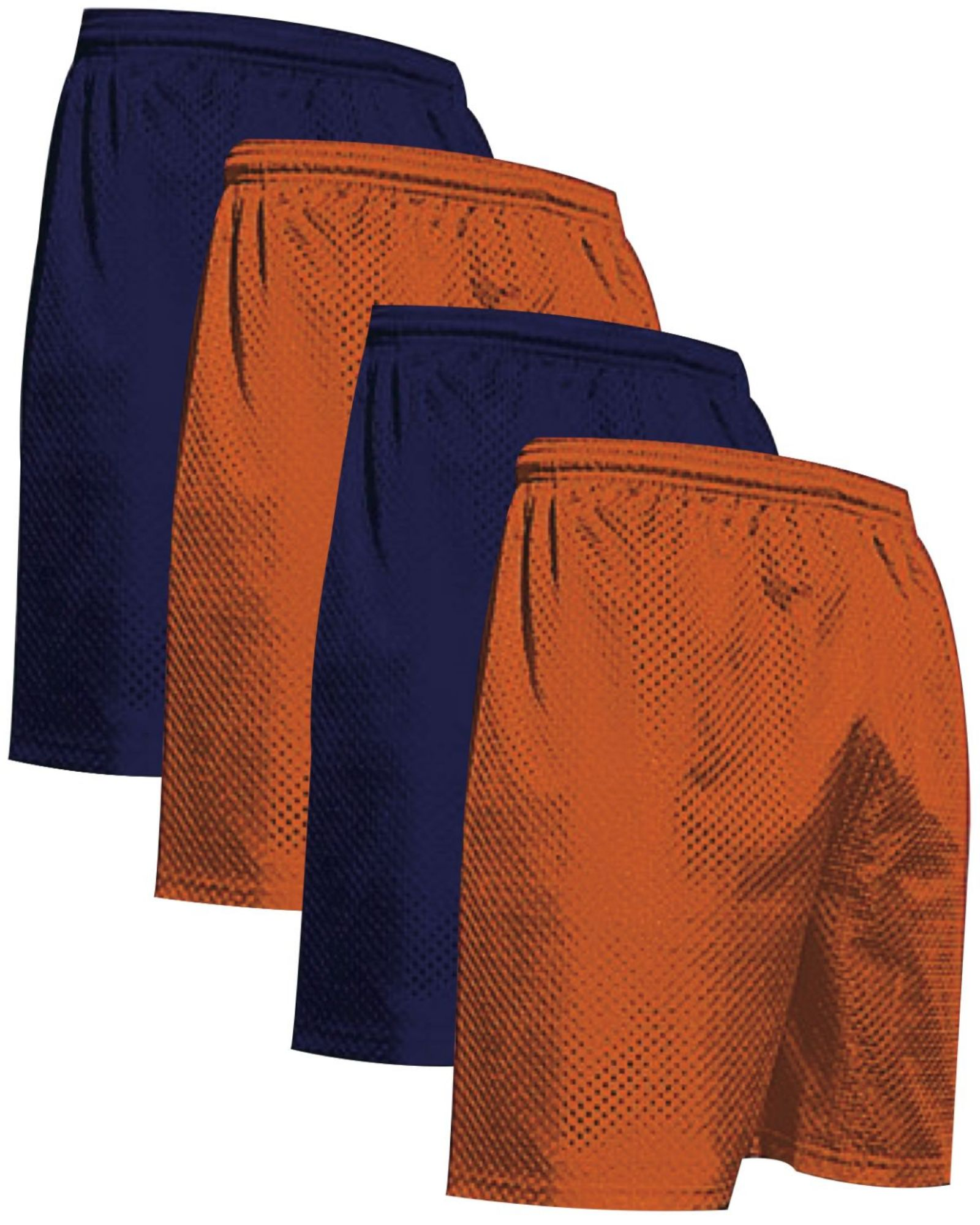 """VALUE PACK  > BUY 2 GET 2 FREE >  4 PACK > THE RAM BRAND > Men's  9"""" Performance Pro Mesh Gym Champ Shorts (XS-4XL) $10 S/H is on the 1st Pack only. In this Pack: (XS)(2Navy/2Orange)"""