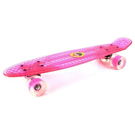 Pink Clear Street Cruiser Banana Skateboard Complete 22