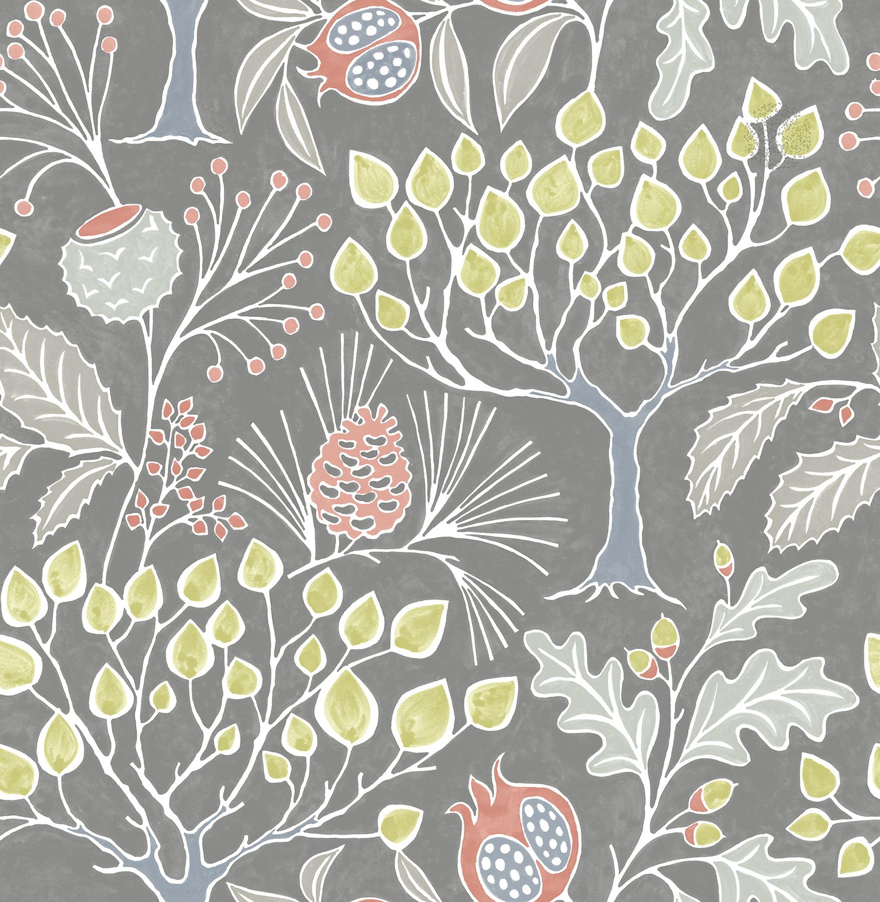 NuWallpaper Groovy Garden Grey Peel & Stick Wallpaper