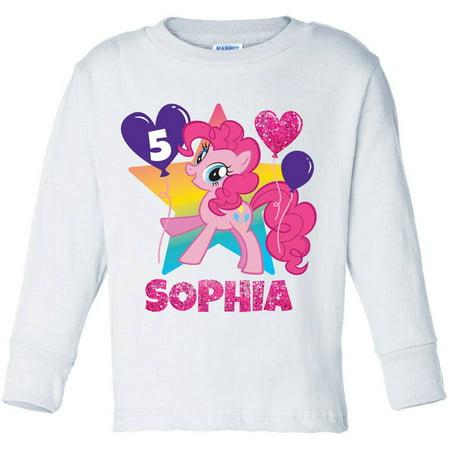Personalized My Little Pony Pinkie Pie Birthday Girls' Pink Long Sleeve Tee