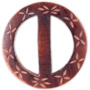 """Vision Trims Handmade Wood Buckle-Carved Flowers Circle 2-1/2"""""""