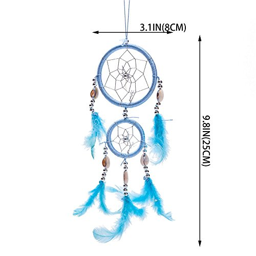 """12"""" Traditional Blue Dream Catcher with Feathers Wall or Car Hanging Ornament 2 Circles"""