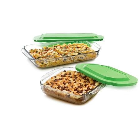 Green Bean Casserole Dish - Libbey Baker's Basics 2-Piece Glass Casserole Baking Dish Set with Plastic Lids