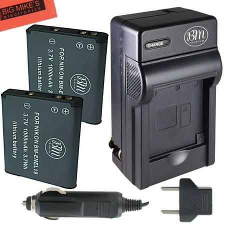 BM Premium 2-Pack of EN-EL19, Batteries and Battery Charger for Nikon Coolpix S33, S3100, S3200, S3300, S3500, S3600, S3700, S4100, S4200, S4300, S5200, S5300, S6400, S6500, S6800, S6900, S7000 Camera ()