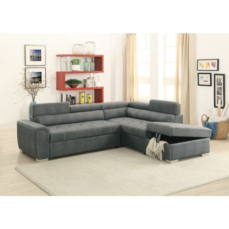 Breathable Leatherette 2 Piece Sectional Convertible Sofa In Slate ...