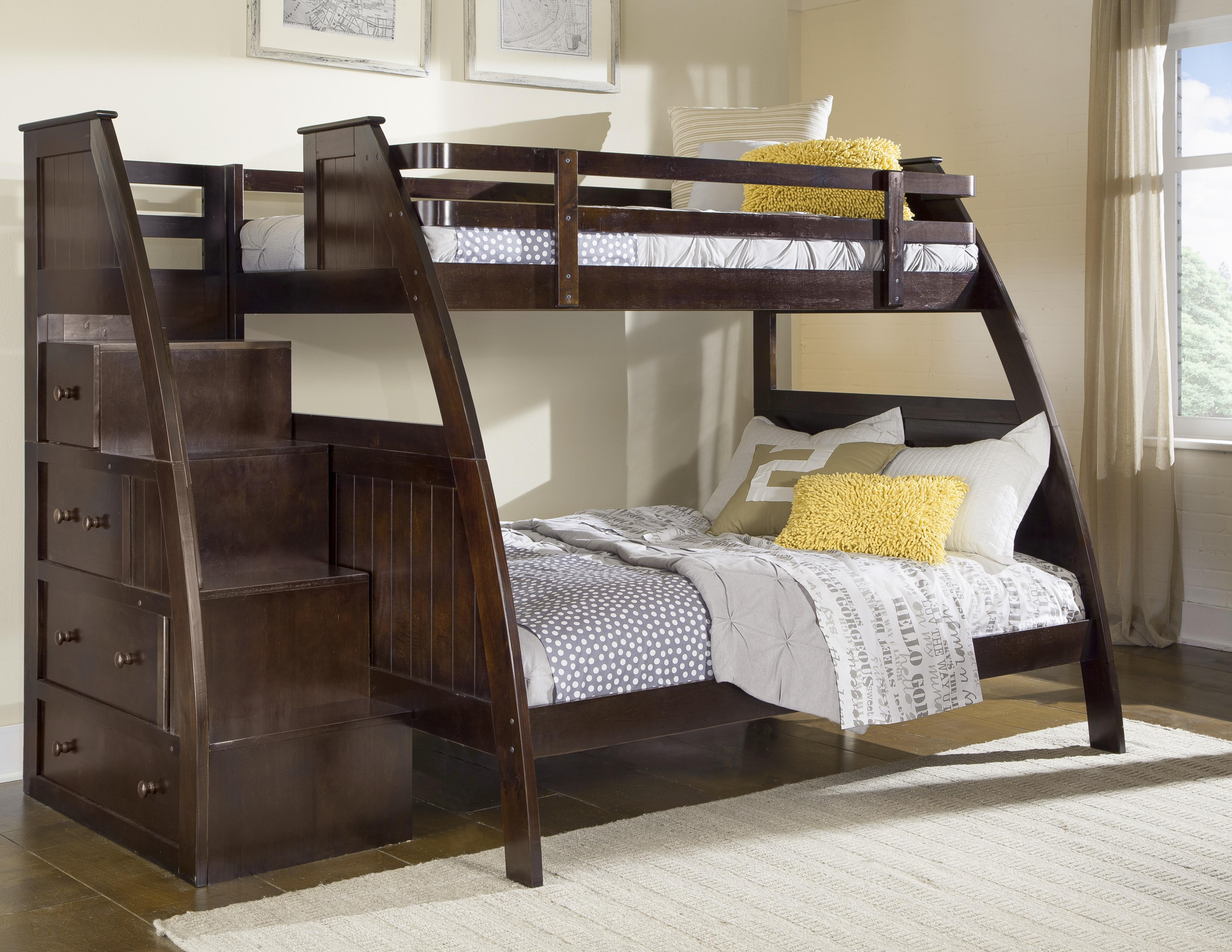 Canwood Overland Twin Over Full Bunk Bed With Built In Stairs