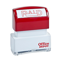 "Office Depot Pre-Inked Message Stamp, """"Paid"""", Red, 035563"