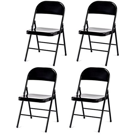 GHP 4-Pcs 264-Lbs Capacity Light Weight Black Powder Coated Steel Frame Folding Chairs