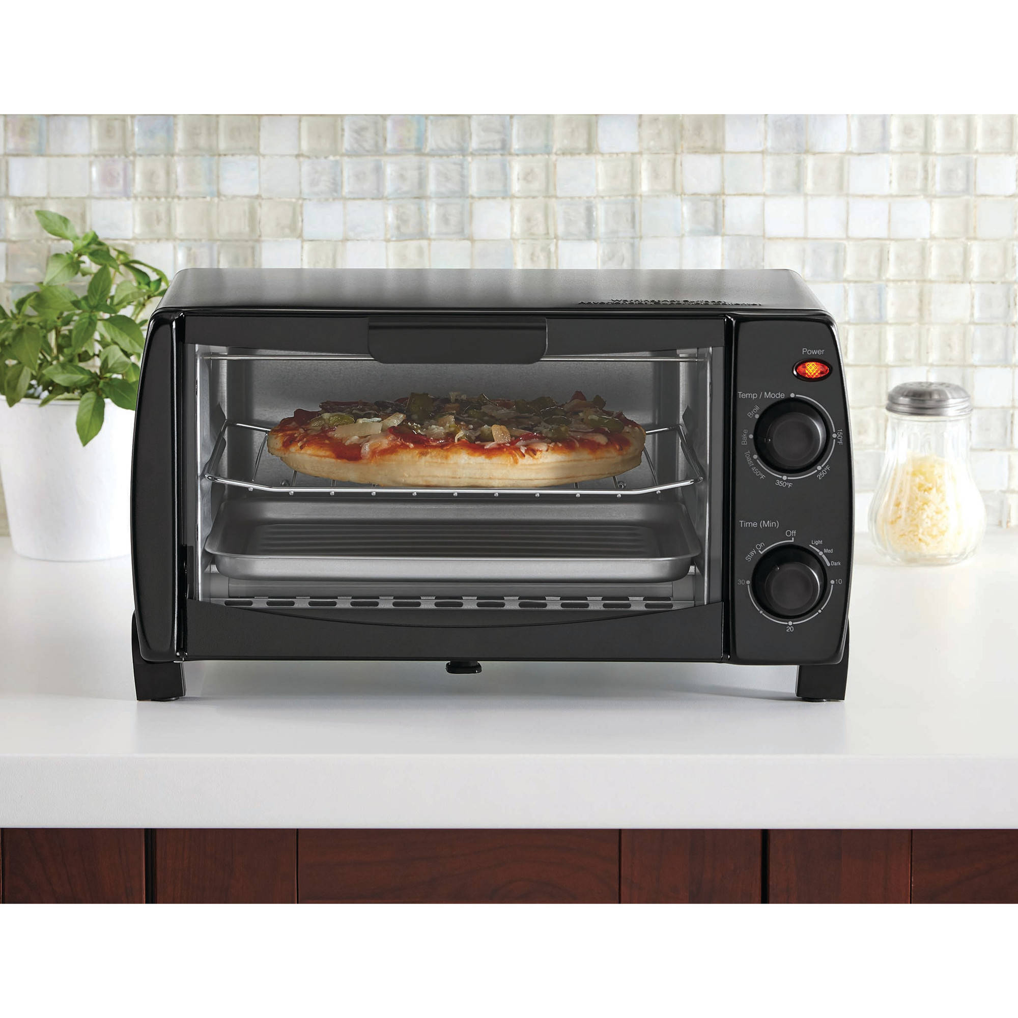 Mainstays 4-Slice Toaster Oven, Black