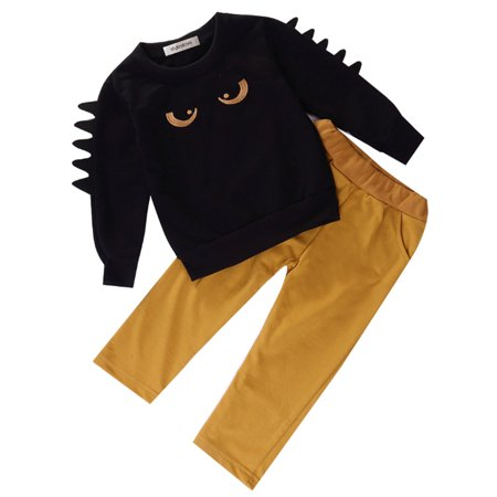 Monsters Inc Outfit (StylesILove Little Boy Chic and Fun Monster Long Sleeve Cotton Top and Pants 2 pcs Outfit Set (110/3-4)