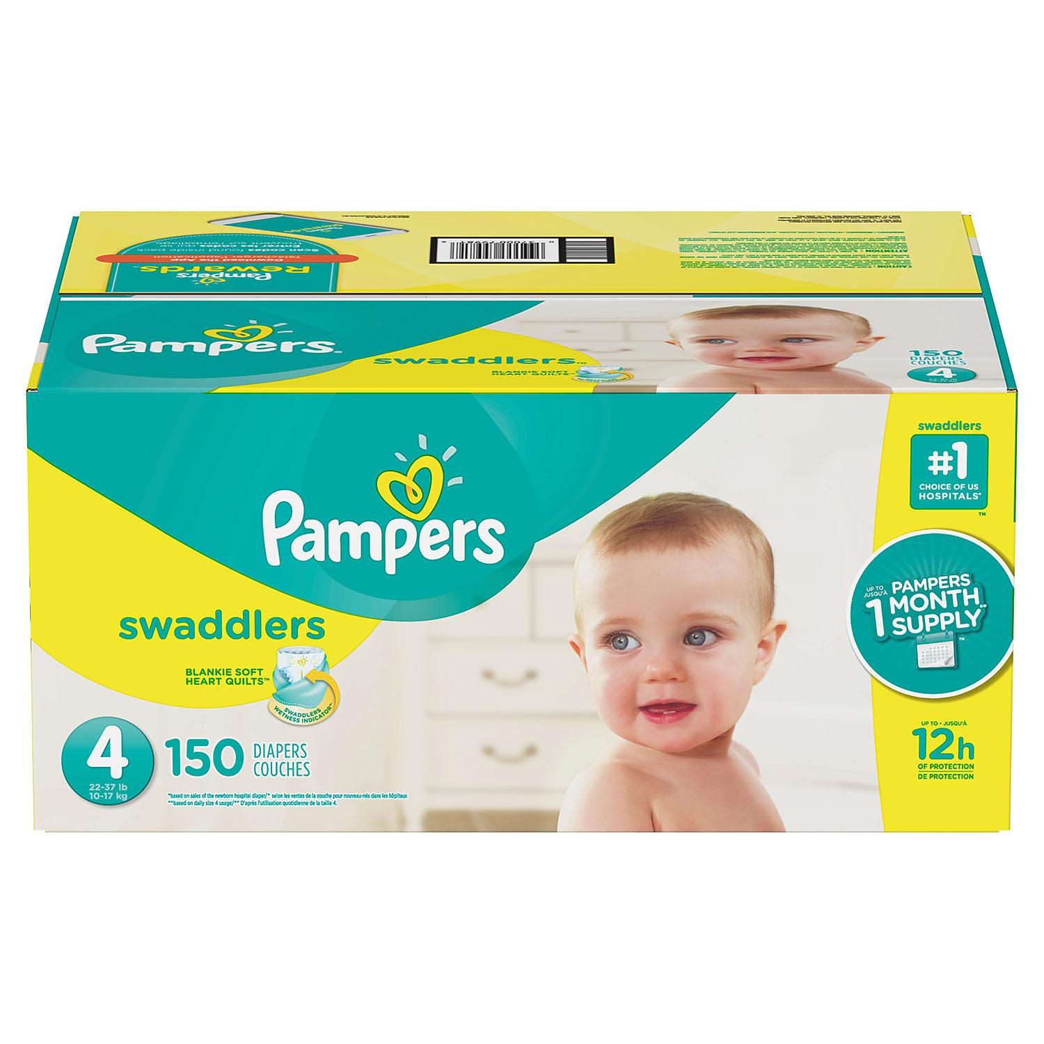 Item By Pampers Swaddlers Diapers #1 choice of hospitals, nurses and parents. size: 4 -150 ct. (22-37 lb.) by Brand By Diapers