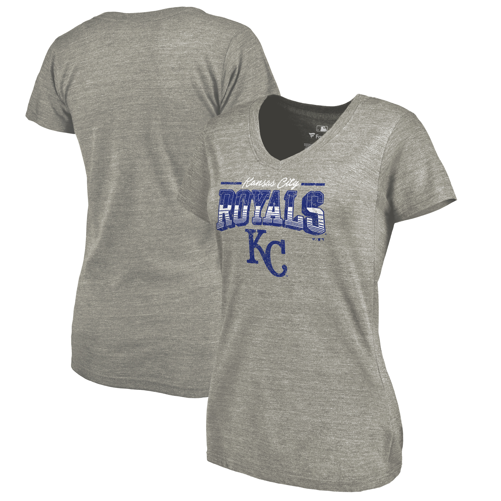 Kansas City Royals Fanatics Branded Women's Cooperstown Collection Season Ticket Tri-Blend V-Neck T-Shirt - Heathered Gray