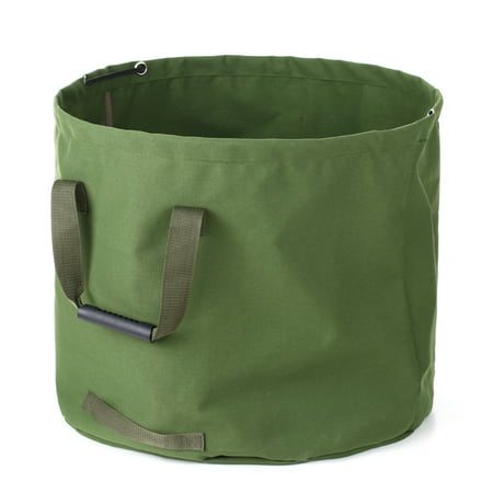 63 Gallons Collapsible Garden Bag Canvas Reusable Gardening Bag Water Resistant Garden Leaf Waste Bag Waste Sack Yard Waste Bag
