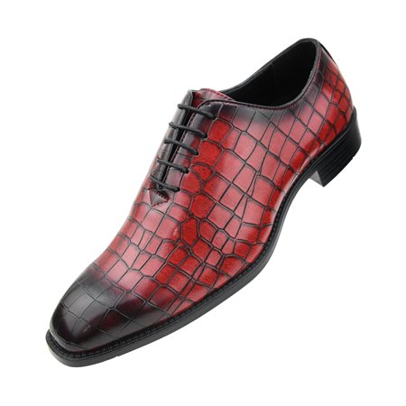 large discount professional design top-rated quality Bolano Mens Exotic Faux EEL and Croco Skin Oxford Dress Shoes with Black  Burnished Toe Available in Rust-Cognac, Grey, Red, Purple