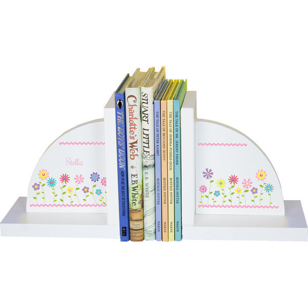 Personalized Stemmed Flowers Childrens Bookends