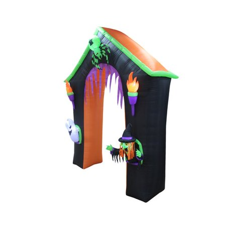 The Holiday Aisle Haunted House Archway with Ghost, Witch and Spider Halloween Inflatable - Haunted History Halloween